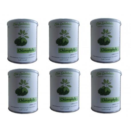 Chlorophylle - 6 pots 800 ml - Cire à épiler jetable