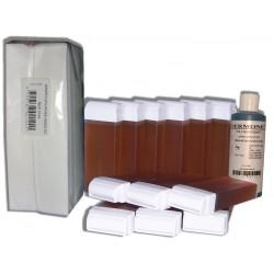 TOPAZ type Miel - 12 recharges cire à épiler + 250 bandes + huile