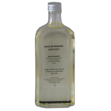 Huile adoucissante de massage parfum Agrumes, flacon de 500 ml