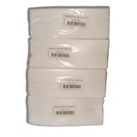 LOT de 4 paquets de 250 bandes lisses non-tissées - Utilisation avec la cire à épiler