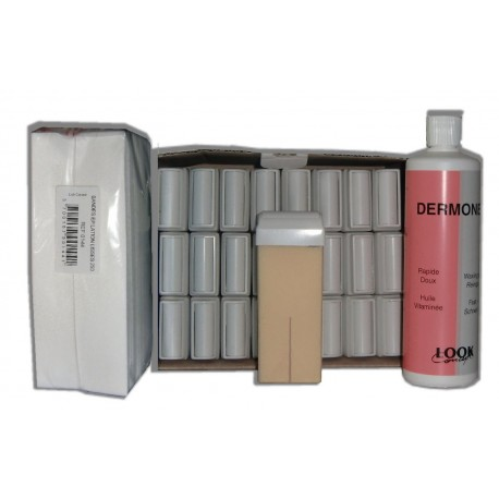NACREE BLANCHE - Recharge cire roll on - 24x100ml - Bandes, huile 500 ml